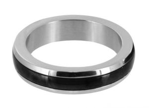 Stainless Steel Cock Ring With Black Band Large