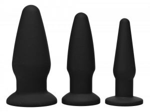 Trinity Silicone Butt Plug Kit Black