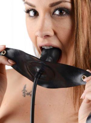 Penis Shaped Inflatable Gag Black Bulk