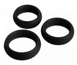 3 Piece Silicone C Ring Set - Black