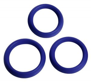 3 Piece Silicone Erection Rings - Blue