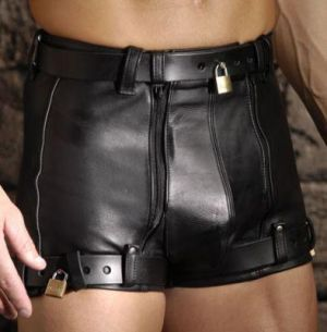 Strict Leather Chastity Shorts 36 Inches Waist