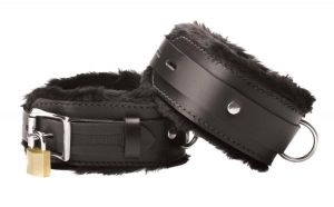 Strict Leather Premium Fur Lined Ankle Cuffs Black