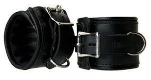 Leather Padded Premium Locking Ankle Restraints Black