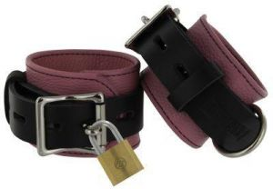 Leather Pink And Black Deluxe Locking Ankle Cuffs