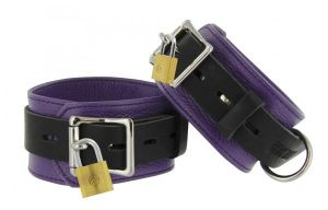 Strict Leather Purple Black Deluxe Locking Ankle Cuffs