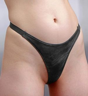 Spiked Leather Thong Panties- L/XL