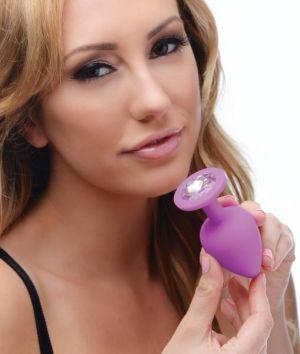 Frisky Purple Pleasure 3 Piece Silicone Anal Plugs With Gems