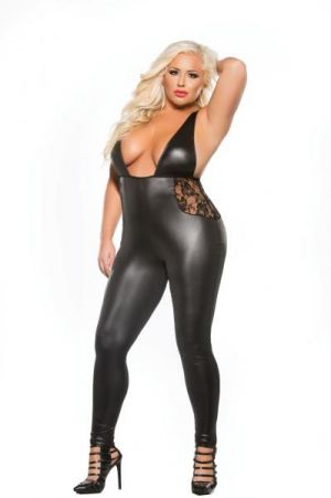 Kitten Lace and Wet Look Catsuit Black O/S XL