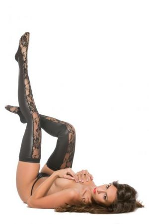 Kitten Lace & Wet Look Tights O/S