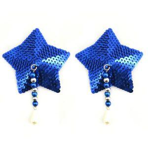 Bijoux Nipple Covers Sequin Star Beads Blue Pasties