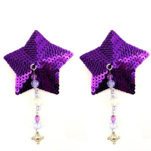 Bijoux Nipple Covers Sequin Star Beads Pewter Charm