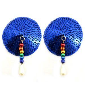 Bijoux Nipple Covers Sequin Round Rainbow Beads Blue