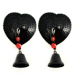 Bijoux Nipple Covers Sequin Heart with Bells Black