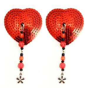 Bijoux Nipple Covers Sequin Heart Beads & Flower