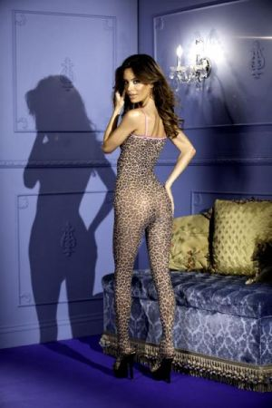 Bodystocking Leopard Print with Bows O/S