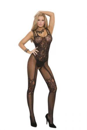 Fishnet & Lace Bodystocking Black O/S