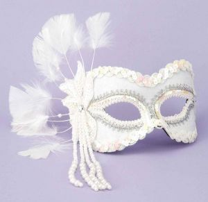 Half Mask Feathers, Beads White O/S