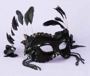 Half Mask Black Beads, Feathers