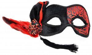 Venetian Half Mask Black/Red