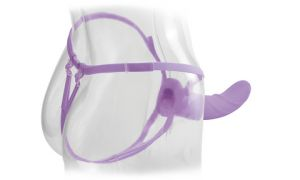 Vibrating 8 Inch Silicone Hollow Strap-on - Purple