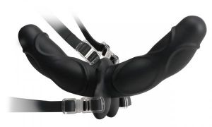 Double Delight Silicone Strap On - Black