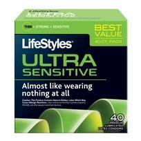 Lifestyles Ultra Sensitive Latex Condoms 40 Pack