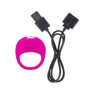 Ela Rechargeable Vibrating Silicone Ring Waterproof - Pink
