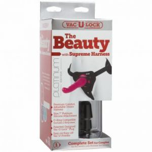 Vac U Lock Platinum The Beauty Attachment With Supreme Harness Set Silicone Pink 7 Inch