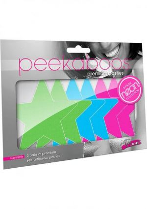 Peekaboos Pasties Neon Star 3 Pack Assorted Colors