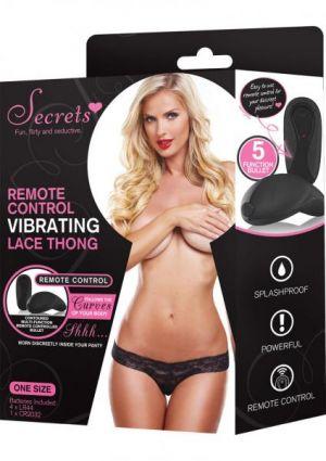 Secrets Vibrating Lace Thong Black OS