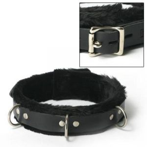 Leather Collar Fur Lined Black