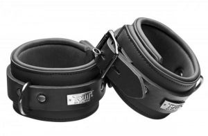 Tom of Finland Neoprene Ankle Cuffs with Locks Black