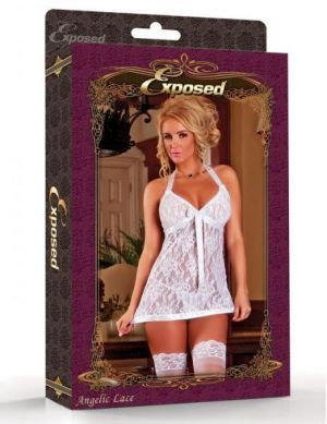 Angelic Lace Babydoll &G String White Medium