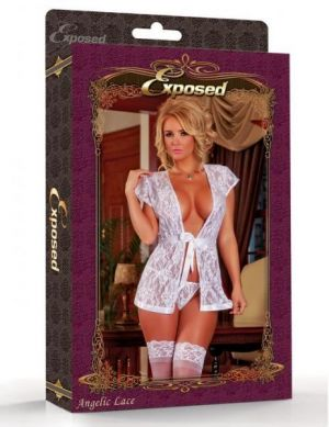 Angelic Lace Wrap & G-String Set White Large