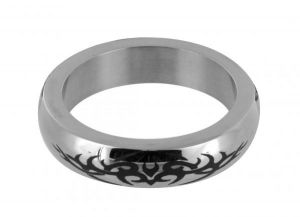 Stainless Steel Cock Ring With Tribal Design Small
