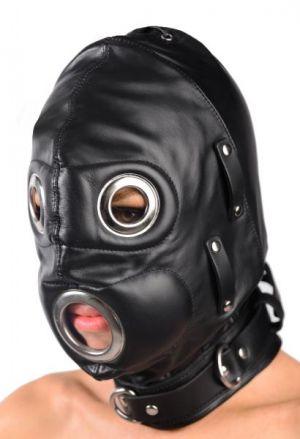 Total Lockdown Leather Hood Black Medium/Large