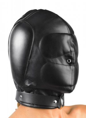 Padded Leather Hood Medium/Large Black
