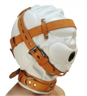 Total Sensory Deprivation White Leather Hood Medium/Large