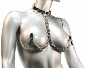 Chrome Slave Collar With Nipple Clamps S/M