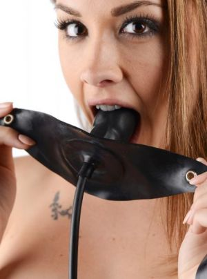 Penis Shaped Inflatable Gag Black Bulk