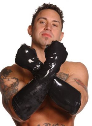 Men's Large Elbow Length Gloves Black Bulk