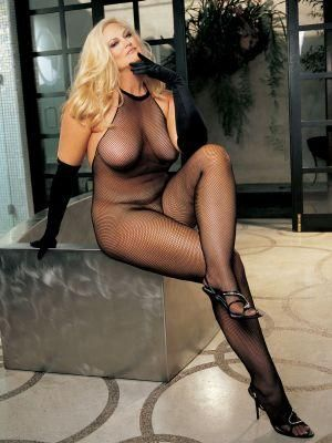 Plus Size Fishnet, Lace Halter Top Bodystocking Black