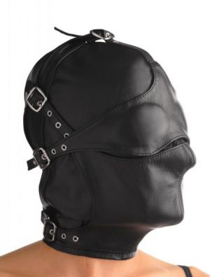 Asylum Leather Hood With Removable Blindfold And Muzzle- M/L