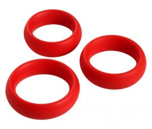 3 Piece Silicone C Ring Set - Red