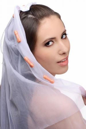 Bachelorette Party Penis Bridal Veil White
