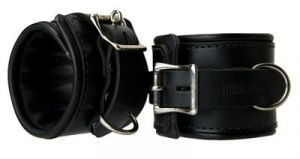 Leather Padded Premium Locking Ankle Restraints Black