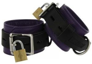 Strict Leather Purple Black Deluxe Locking Wrist Cuffs