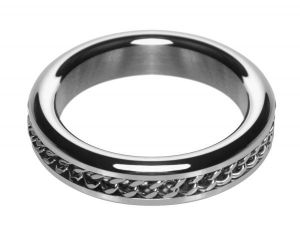 Metal Cock Ring With Chain Inlay S/M 1.75 Inches