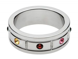 Multi-Colored Gem Accented Cock Ring 1.95 Inches